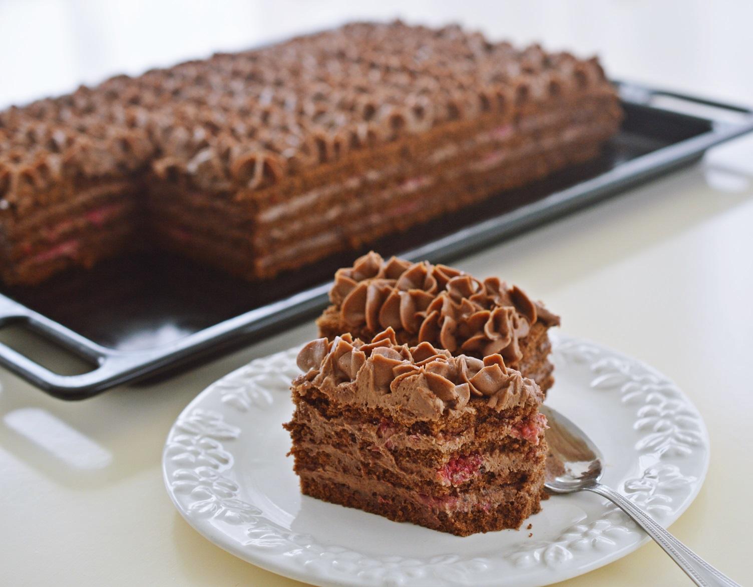 prajitura cu zmeura si ciocolata